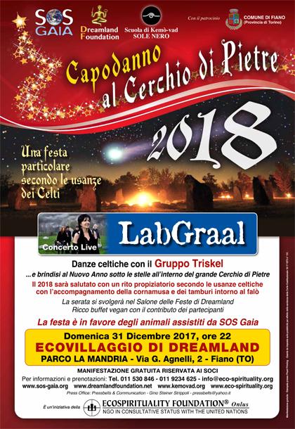 Domenica 31 dicembre 2017, ore 22 - CAPODANNO 2018 al Cerchio di Pietre con Concerto live del LabGraal