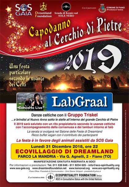 31 dicembre 2018, ore 22 - CAPODANNO 2019 al Cerchio di Pietre con Concerto live del LabGraal