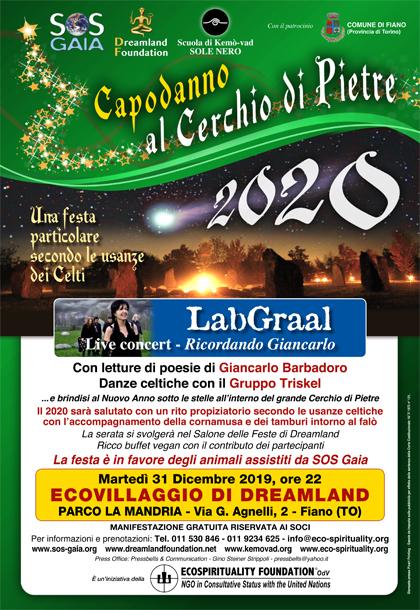 31 dicembre 2019, ore 22 - CAPODANNO 2019 al Cerchio di Pietre - LabGraal live concert Ricordando Giancarlo
