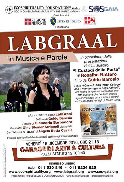 Venerdì 16 dicembre 2016, ore 21.15 - LabGraal in Musica e Parole presentazione dell'audiolibro I Custodi della Porta