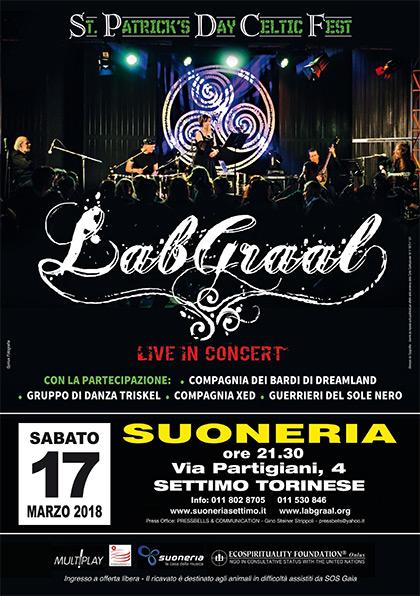 Sabato 17 marzo 2018, ore 21.30 - LabGraal Live St.Patrick's Day Celtic Fest - Suoneria di Settimo Torinese